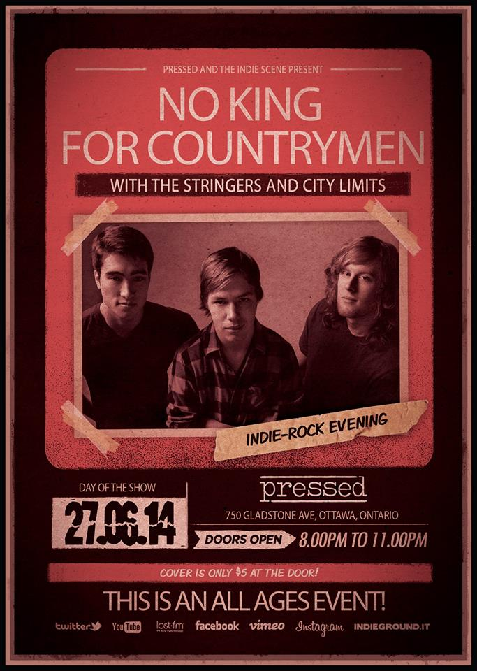 No King for Countrymen, The Stringers, City Limits at Pressed June 27