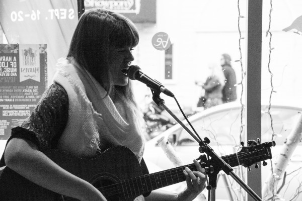 Danielle Allard playing at The Unrefined Olive as part of Marvest 2015.